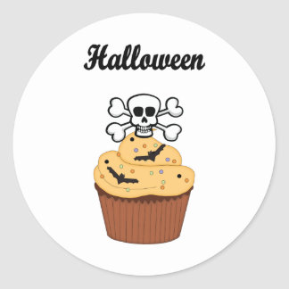 Halloween Skull and Bats Classic Round Sticker