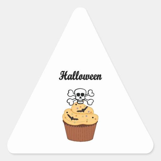 Halloween Skull and Bats Triangle Sticker
