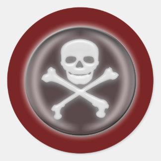 Halloween Skull and cross-bones Classic Round Sticker