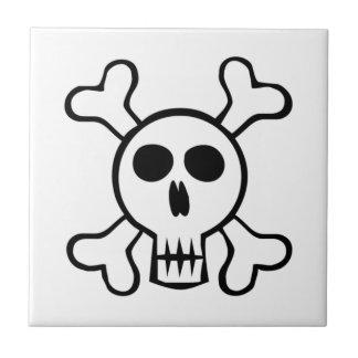 Halloween Skull and Crossbones Tile