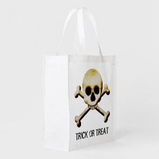 Halloween Skull And Crossbones Trick Or Treat Bag Market Totes