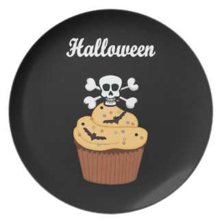 Halloween Skull and Cupcake Bats Plate