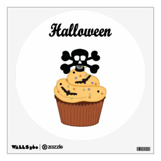 Halloween Skull and Cupcake Bats Wall Sticker