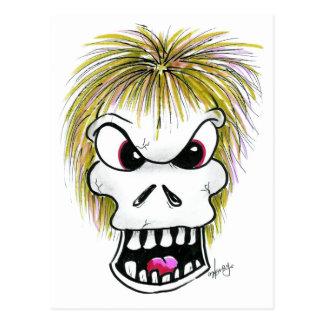 Halloween Skull and Ghost Postcard