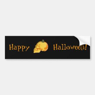 Halloween skull and pumpkin bumper sticker