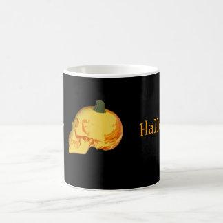 Halloween skull and pumpkin coffee mug