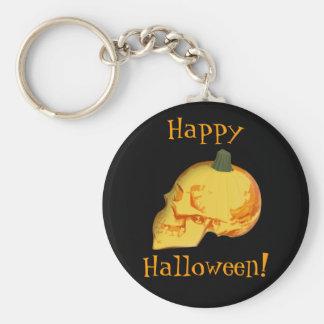 Halloween skull and pumpkin keychain
