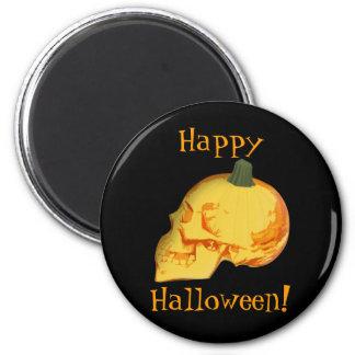 Halloween skull and pumpkin magnet