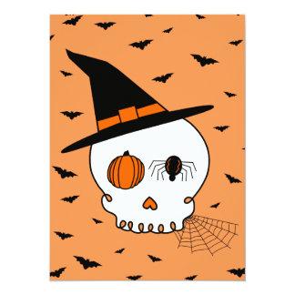 Halloween Skull & Bats (Orange Background) Card