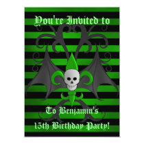Halloween skull birthday card
