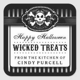 Halloween Skull Black & White Striped Treat Label Square Sticker