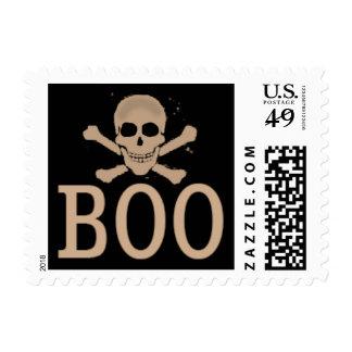 Halloween Skull BOO Black & Orange Postage