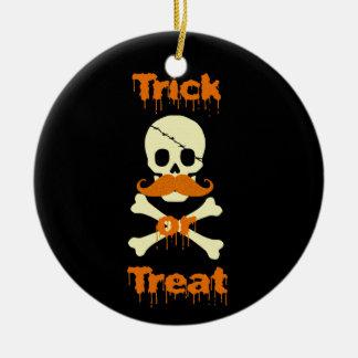 halloween skull ceramic ornament
