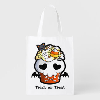 Halloween Skull Cupcake Reusable Grocery Bag