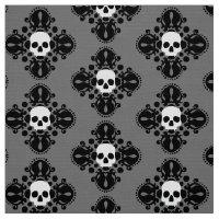 Halloween skull damask pattern fabric