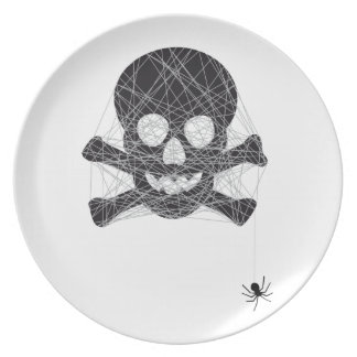 Halloween skull design with spider net party plates