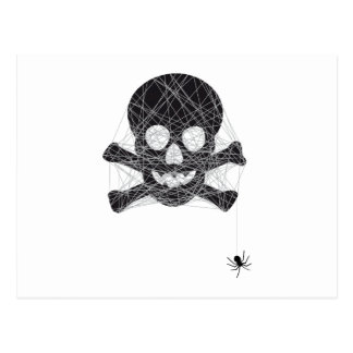 Halloween skull design with spider net postcard