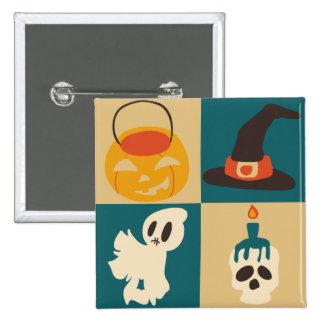 Halloween Skull Ghost Hat Pumpkin Pattern Pinback Buttons