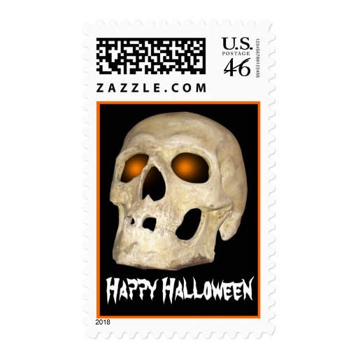 Halloween Skull Ghostly Orange Eye Sockets Stamp