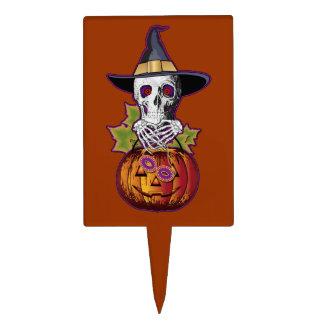 Halloween Skull 'n Pumpkin Cake Topper
