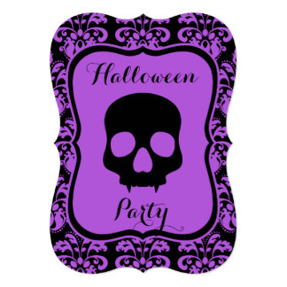 "Halloween skull on damask personalized party 5"" x 7"" invitation card"