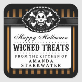Halloween Skull Orange & Black Striped Treat Label Square Sticker