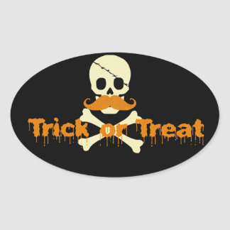 halloween skull oval sticker