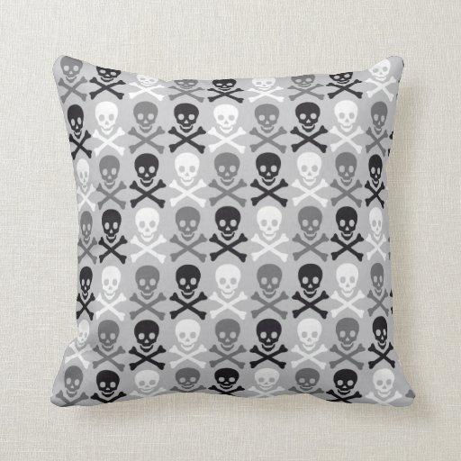 Halloween Skull pattern with crossbones Pillow Zazzle