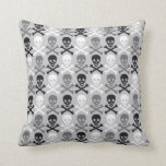 Halloween Skull pattern with crossbones Throw Pillows