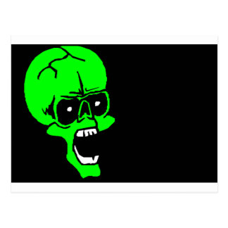 halloween skull postcard