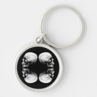 Halloween Skull Protection Bones Profile Round Keychain