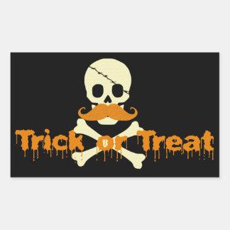 halloween skull rectangular sticker