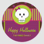 Halloween Skull, Round Favor Tags/ Topper Stickers