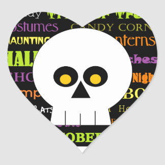 Halloween Skull Subway Art Heart Sticker