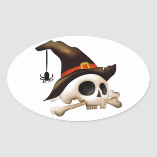 Halloween Skull with Bone and Witch Hat Oval Sticker