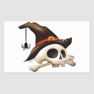 Halloween Skull with Bone and Witch Hat Rectangular Sticker