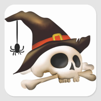 Halloween Skull with Bone and Witch Hat Square Sticker