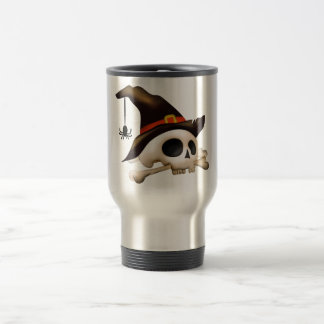 Halloween Skull with Bone and Witch Hat Travel Mug