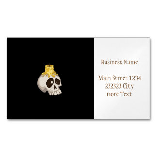 halloween - skull with candle business card magnet