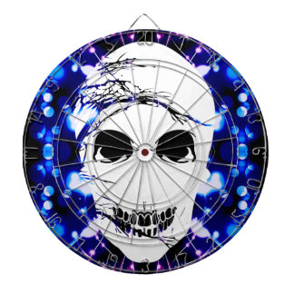 Halloween Skull with magic blue light 2 Dartboard With Darts