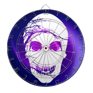 Halloween Skull with magic blue purple light Dartboard