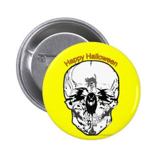 Halloween Skull with witch, bat etc. 2 Inch Round Button