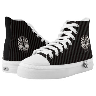 Halloween Skulls and Stripes in Black and Gray Printed Shoes