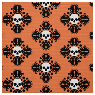 halloween skulls black and orange fabric - Halloween Skulls