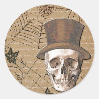 Halloween Skulls Classic Round Sticker, Glossy Classic Round Sticker