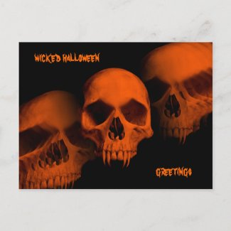 Halloween skulls postcard for your text postcard