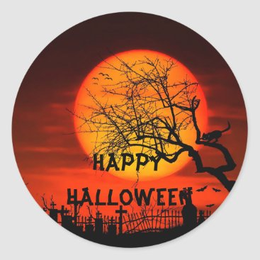 Halloween Themed Halloween sky on fire cemetery scary trees classic round sticker