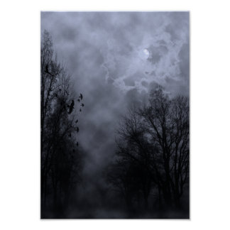 Halloween Sky with Ravens Blue Mist Poster