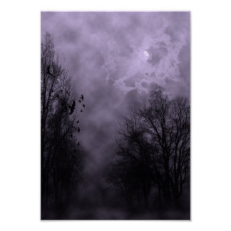 Halloween Sky with Ravens Purple Mist Poster