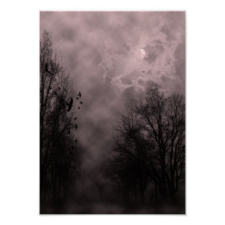 Halloween Sky with Ravens Red Mist Poster